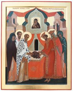 Икона Ризоположение. Справа, в короне изображен благоверный царь Лев I  Маркелл, день памяти 2 февраля
